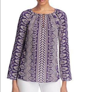Tory Burch Varenna Purple Floral Silk Blouse 10